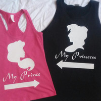 Free Shipping for US Aladdin and Jasmine My Prince and My Princess Tank Tops
