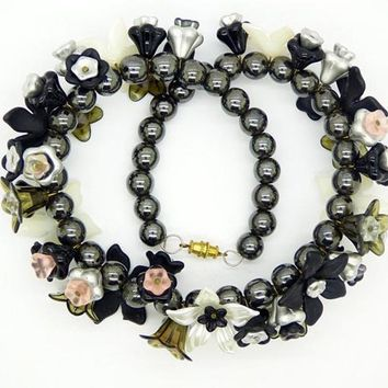 Black Obsidian Beaded Lucite Flower Necklace