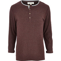 River Island MensRed stripe long sleeve grandad t-shirt