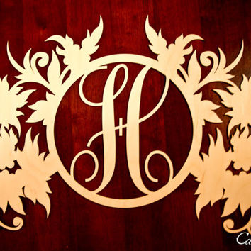 Custom Engraved Wood Initial Monogram Fancy Floral Wall Decor
