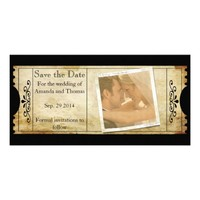 Vintage Wedding Ticket Invitations- Save the Date Customized Photo Card