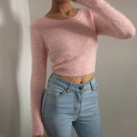 Retro Fleece Long Sleeve Knit Top sold by FE CLOTHING