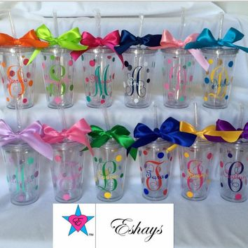 Personalized Tumbler Cups with Straw and Initials