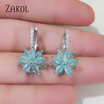 ZAKOL Cute Romantic Lovely Clear Stone Flower Convenient Simple H Earrings Copper Cubic Zirconia For Women Party FSEP2120