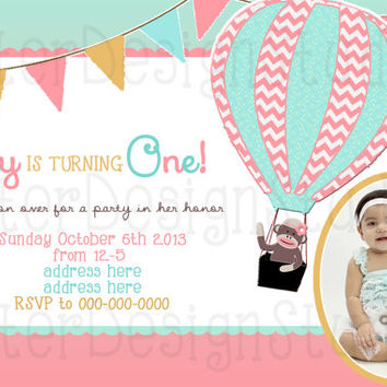 Sock Monkey Hot Air Balloon Chevron Birthday Invitation - Printable