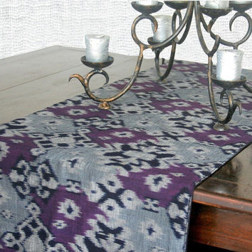 Ethnic Table Runner In Hand Woven Indonesian Ikat Purple, Grey And Black With Fringe Ends