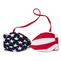 Xhilaration® Junior's Bandeau Swim Top -Star and Stripe Print