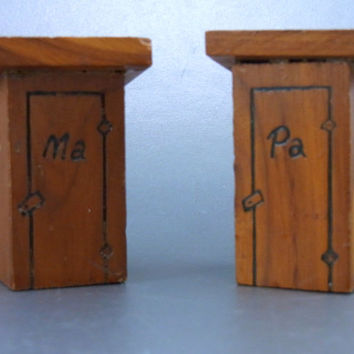 Vintage Ma and Pa Outhouse Salt and Pepper Shakers Down Home Style Humorous Salt and Pepper Wood Salt andPepper