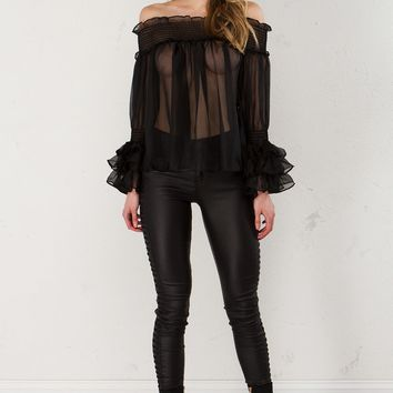 Ruched Off The Shoulder Top in Black