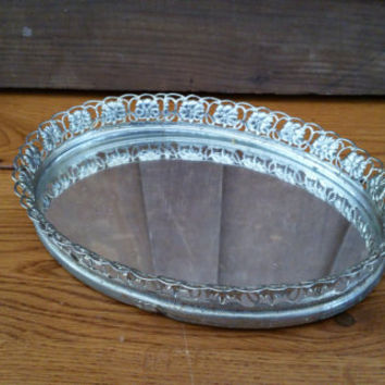 Vintage Ornate Gold Toned Filigree Hollywood Regency Style Mirrored Dresser Vanity Tray Small