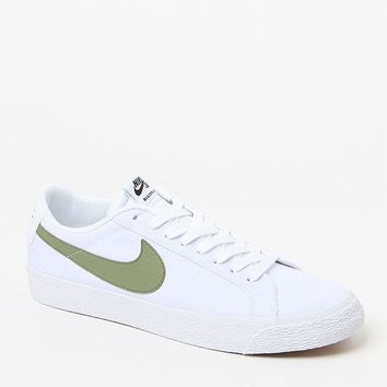 Nike SB Air Zoom Blazer Low Canvas White and Green Shoes at PacSun.com - white/green | PacSun