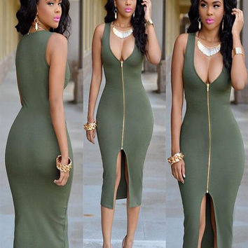 Army Green Sleeveless Zip-up Bodycon Midi Dress