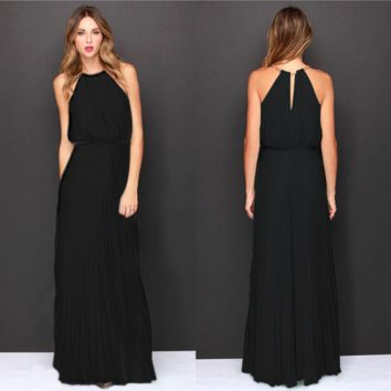 Plain chiffon Maxi dress B0014752