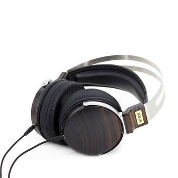 Headphones MSUR N650 Headset Subwoofer HiFi Wooden Metal Music DJ Headphone Earphone With Beryllium Alloy Driver Portein Leather