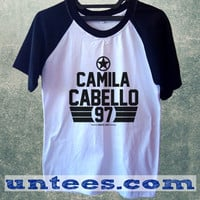 Camila Cabello Fifth Harmony Basic Baseball Tee Black Short Sleeve Cotton Raglan T-shirt