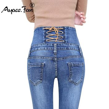 Autumn Spring Jeans Women High Waist Elastic Skinny Denim Long Pencil Pants Back Trousers