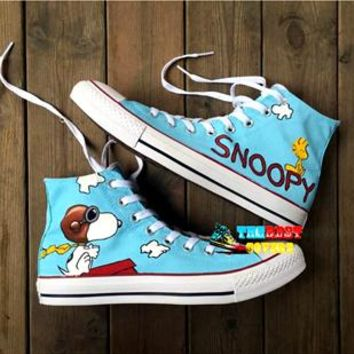Cartoon characters hand painted canvas high-top sneakers ~ 7 options