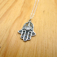 Petite Silver Hamsa Necklace- Sterling Silver Hamsa Charm on Delicate Sterling Silver Chain