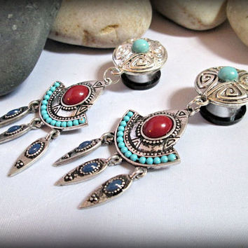 Bohemian ear plugs tunnels-turquoise ear plugs,flesh tunnels,dangle gypsy ear plugs-tribal guage earring -double flared screw tunnel