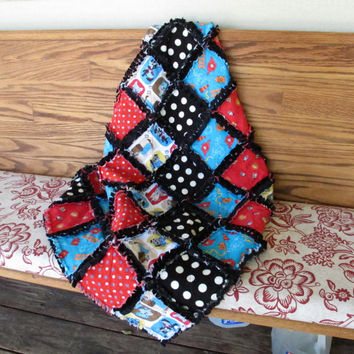 Reversible rag quilt, baby boy quilt with minky