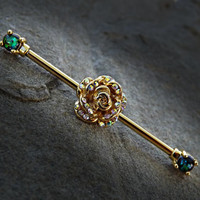 Gold Rose  Rhinestone Industrial Barbell Green Opal Ends 14ga Surgical Stainless Steel Body Jewelry Scaffold Bar