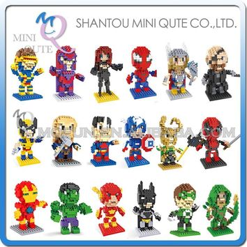 Mini Qute WTOYW HSANHE 20 styles movable hands Marvel Avenger thor Spiderman Super hero plastic building block educational toy