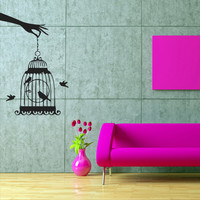 Wall decal decor decals art sticker bird cell canary nightingale hand brush (m426)