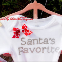 "Christmas Shirt ""Santa's Favorite""   Christmas Onesuit  For baby Girl, Toddler Girl, Girls"