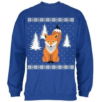 MDIGCY8 Big Fox Ugly Christmas Sweater Royal Adult Sweatshirt