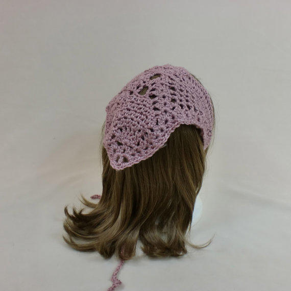 Crochet Hair Kerchief Pattern : Hair Bandana Kerchief Pink Crochet Head from AllThingsTangled on