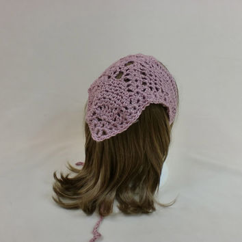 Hair Bandana Kerchief Pink Crochet Head Scarf Rockabilly Cover Tie Lace Triangle Headband Band Head Scarf Rose