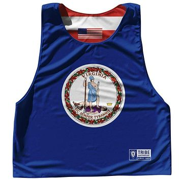 Virginia State Flag and American Flag Reversible Lacrosse Pinnie