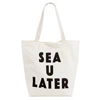 Twig & Arrow Women's Canvas 'Sea U Later' Tote Handbag - White : Target