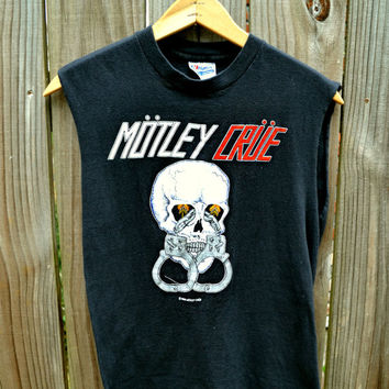 Vintage Motley Crue 1983 Sleeveless Concert Shirt and Ticket
