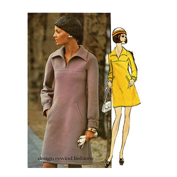 1970s VOGUE DRESS PATTERN Loose Fitting Dress Shawl Collar Nina Ricci Vogue 2343 Paris Original Bust 34 Size 12 Womens Sewing Patterns
