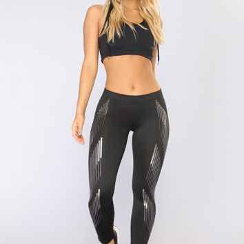 Silver Lining Active Crop Leggings - Black