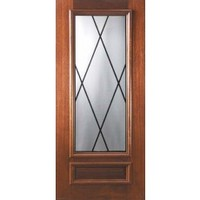 Slab Front Single Door 80 Mahogany Courtlandt 1 Panel 3/4 Lite Glass