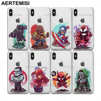 Aertemisi Black Panther Luke Cage Captain America Carnage Colossus Clear TPU Case Cover for iPhone 5 5s SE 6 6s 7 8 Plus X
