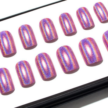 Press On Nails Pink - Square Fake Nails - Pink Holographic Nails - Holo False Nails - Glossy Glue On Nails - Painted Nail Set