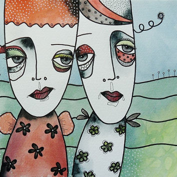 Original Watercolor Painting Angels Angel Art Faces People Mixed Media Pale Pastel Colors Outsider Folk Art