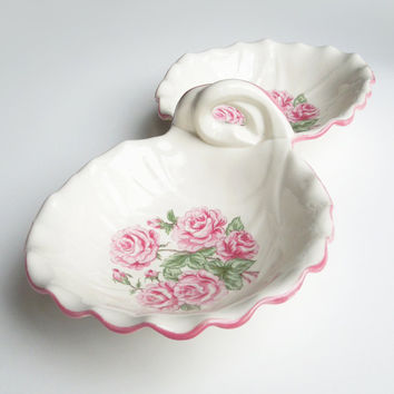 Hand painted porcelain candy dish bon bon dish - Double-sided porcelain dish with pink roses and handle - Cottage chic