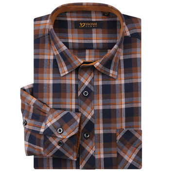 Fashion Men's Classic Long Sleeve Midweight Plaid Checked Flannel Shirts 100% Polyester Lapel Neck Regular Fit Shirt Men