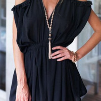 Black V-Neck Short Sleeve Romper