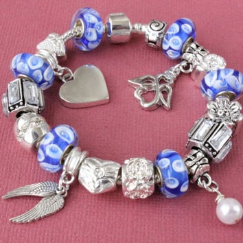 European charm bracelet with charms Guardian Angel wing pearl heart shiny charms blue Murano beads gift for her large hole beads