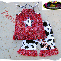 Girl Cow Outfit Pant Set - Girl Cow Birthday Party - Cow N Bandana Top Ruffle Pant Set 3 6 9 12 18 24 month size 2t 2 3t 3 4t 4 5t 5 6 7 8