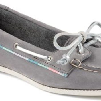 Sperry Top-Sider Audrey Satin Trimmed Slip-On Boat Shoe Charcoal, Size 8M  Women's Shoes