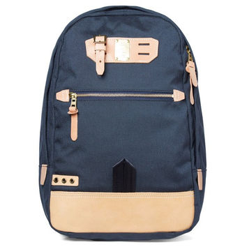 Navy and Light Tan Cowhide Leather Backpack