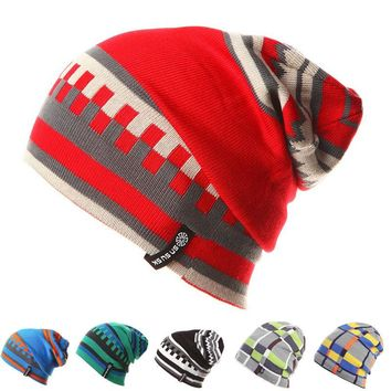 Multi color unisex hats winter beanies geometrical colorful warm cap