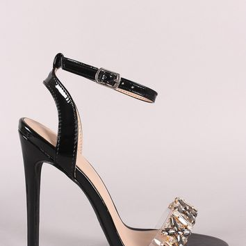Jeweled Open Toe Ankle Strap Heel