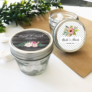 Personalized Floral Garden Small 4oz Mason Jars (Set of 24)